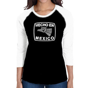 Women's Raglan Baseball Word Art  HECHO EN MEXICO